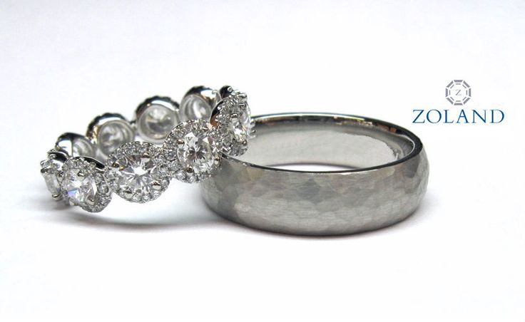 Round brilliant diamonds with halo eternity band / Hammered gent's wedding band