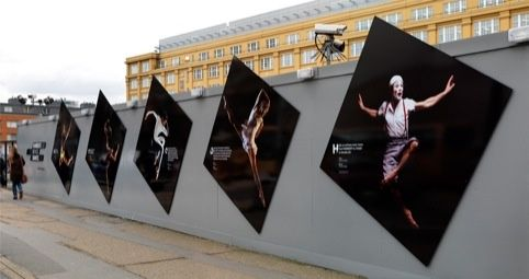 Rambert I like the movement within this design. This is also portrayed through the slanted squares. I think the way in which the typical design that is placed on the hoarding has been ignored.