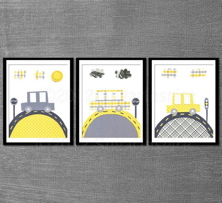 Yellow and grey baby room decor Nursery art print by SugarInspire, $39.95