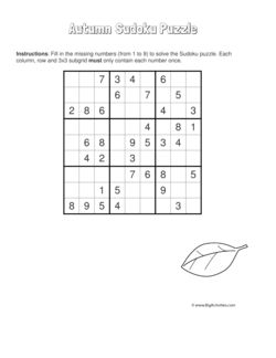Autumn/Fall sudoku puzzle with a picture of a leaf. 4 levels of difficulty. Sudoku puzzle changes each time you visit