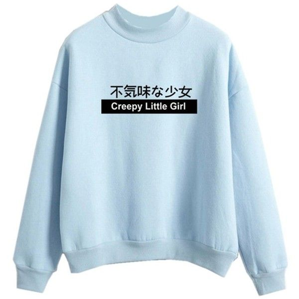 Women Pastel Sweater Kawaii Japanese Shirt Creepy Little Girl Print... ($20) ❤ liked on Polyvore featuring tops, sweaters, shirt top, blue patterned shirt, shirt sweater, blue sweater and print sweater