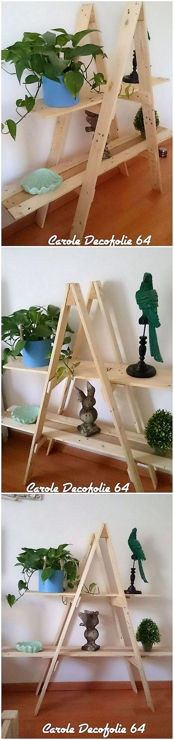 A much stylish looking pallet ladder shelf piece of design has been crafted here where the placement function of adding decoration accessories in it is the main attractive feature of it. You can visually make it add up perfectly in your house gallery that would look so eye-catching.