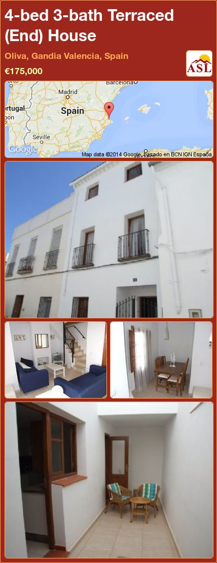 4-bed 3-bath Terraced (End) House in Oliva, Gandia   Valencia, Spain ►€175,000 #PropertyForSaleInSpain
