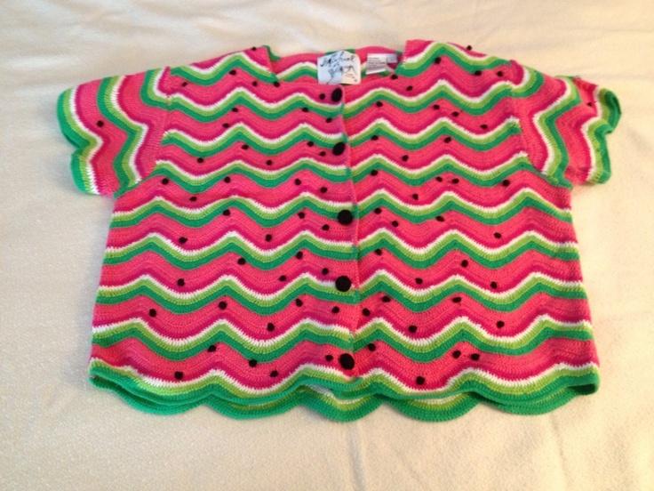 Michael Simon Watermelon Sweater Sz L Large Pink Green White and Black | eBay