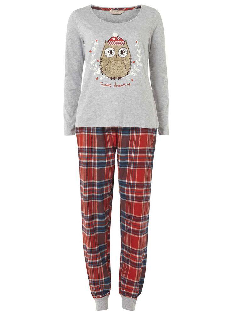 Grey Christmas Owl Pyjama Set - New In Clothing- Dorothy Perkins