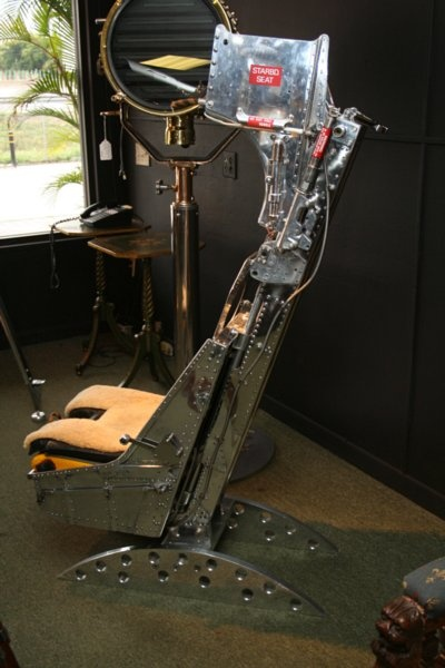 A surprisingly comfortable 1940s jet fighter ejection seat. From Daniels Antiques