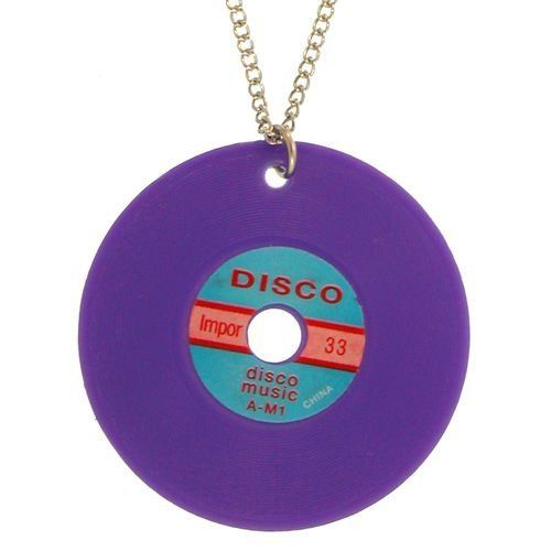 Record Necklace In Purple with Silver Finish GirlPROPS. $3.99. Save 60% Off!