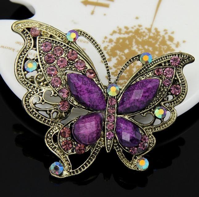 Erstklassige 2015 Klar Grape Hochzeit Korean Broschen Für Frauen Kristallrhinestone Schmetterlings Brosche Stifte
