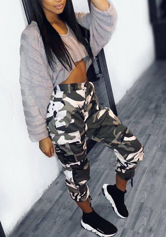 Awesome Camouflage long pants with pockets casual military style woman …