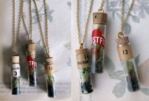 Tiny terrarium necklaces. Instead of blood like Angie and Billy Bob...how 'bout a bit of earth?