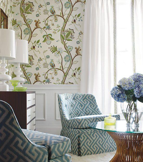 love the chair fabric and wallpaperDecor, Dining Room, Chairs Fabrics, Livingroom, Greek Keys, Living Room, Wallpapers, Mixed Pattern, Fabrics Pattern