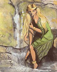 """Las Xanas son espíritus de la Naturaleza que tienen forma de mujer. Son ninfas que viven en las fuentes y en las riberas de los cursos de agua.  Protegen los amores y castigan la infidelidad de los amantes. Cuidan del ganado y, a la puerta de su casa, hilan madejas de oro que regalan a los pastores. A las personas que las ayudan les pagan con alhajas. Raptan a los hijos de los aldeanos y dejan en su lugar a los suyos, los """"xaninos"""", para que los amamanten. La Noche de San Juan se dejan ver."""
