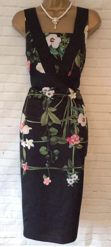 e19124bfb TED BAKER KACIED Size 2 10 8 Black Secret Trellis Dress Pink Floral Midi   fashion  clothing  shoes  accessories  womensclothing  dresses (ebay link)