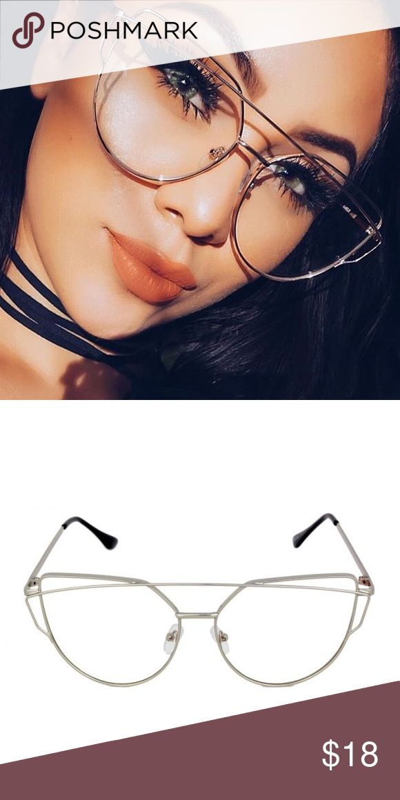 Silver Clear Kylie Fashion Clear Glasses ▪️Brand New Clear Eye Glasses ▫️UV Protected ▪️Clear Lenses - Non Prescription  ▫️Celebrity Sunglasses Kylie  ▪️Ships New In a Bag W/ a Protective Box ▫️I Have Silver, Black & Gold In My Shop ▪️Priced To Sell ▫️Uni