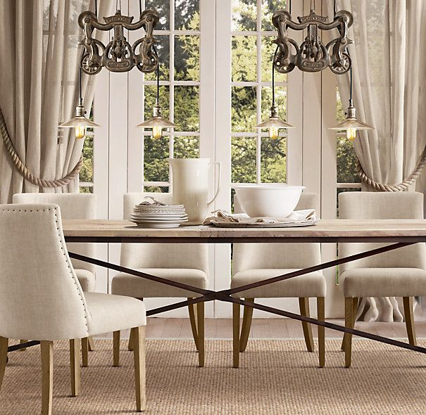 Flatiron Dining Table And Style Barrelback Chairs From Restoration Hardware