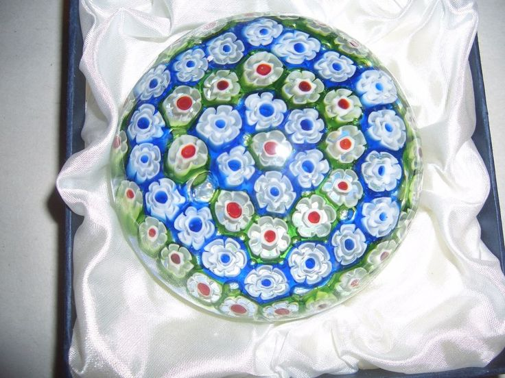 VINTAGE MURANO MILLEFIORI ART GLASS MID-CENTURY PAPERWEIGHT with BOX NIB