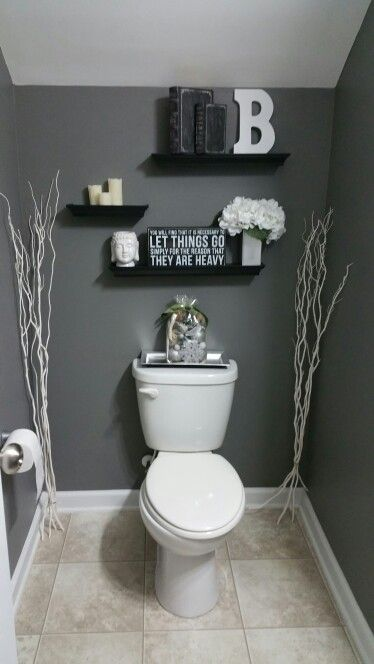 25 best ideas about grey bathroom decor on pinterest Over the toilet design ideas