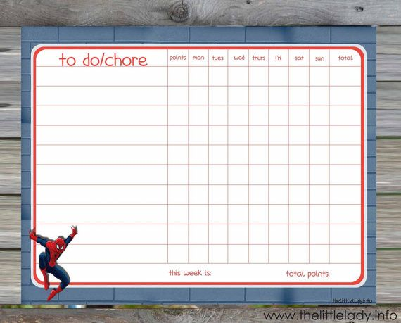 Spiderman Chore/Behavior Chart - EDITABLE + Automatic ...