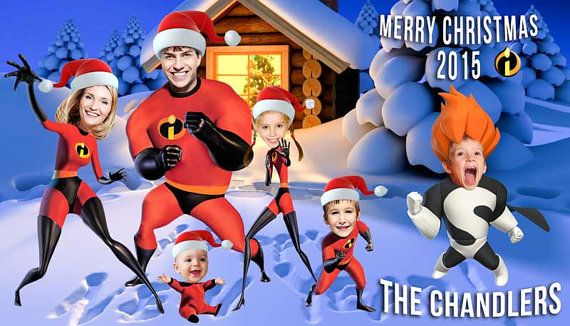 Funny Family Christmas card Super hero by PartyPhotoInvites