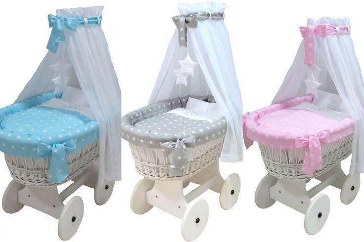 Babymajawelt® Stubenwagen Komplett Set STARS Sterne  10 Teile (Matratze, Bett Set, Stubenwagen, Zubehör inkl.) weitere Designs auf www.babymajawelt.de
