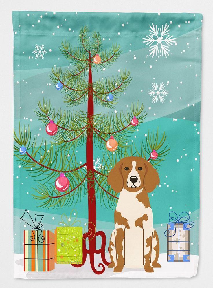 Merry Christmas Tree Brittany Spaniel Flag Garden Size BB4197GF