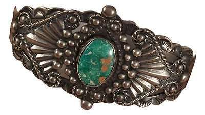Vintage-Navajo-Traditional-Marriage-Turquoise-amp-Sterling-Silver-Cuff