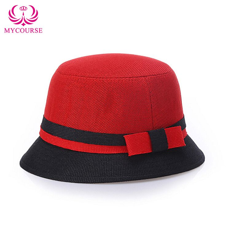 Find More Bucket Hats Information about MYCOURSE Summer Korean Style Colorful Linen Lattice Women Sun Bucket Hat Ladies Bowknot Beach Retro Fedora Hats Bowler Derby Cap,High Quality bucket plastic,China bucket conveyors Suppliers, Cheap bucket hat shop from MYCOURSE on Aliexpress.com