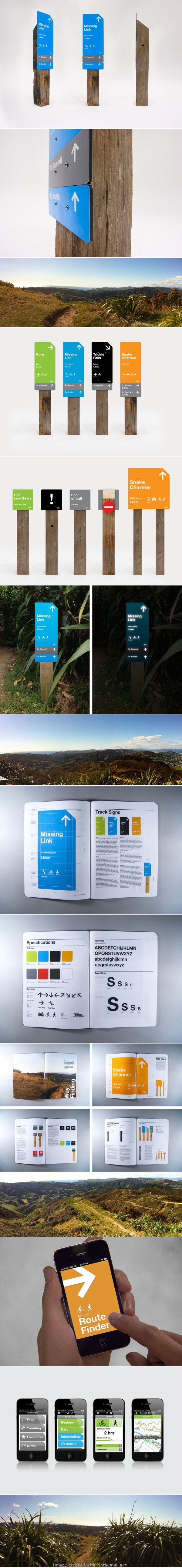 Makara Peak mountain bike trails wayfinding system, via Behance.