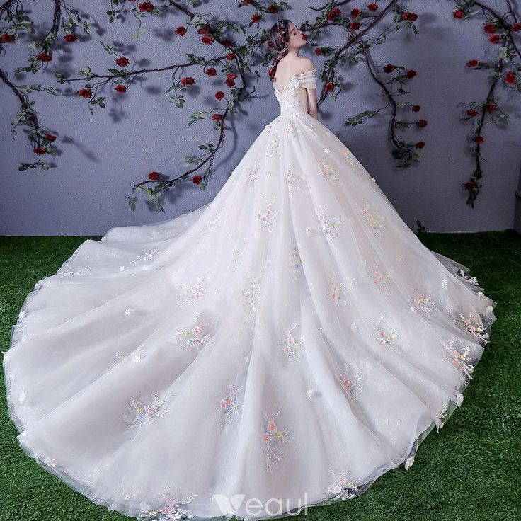 Chic / Beautiful White Wedding Dresses 2018 Ball Gown Multi-Colors Appliques Pearl Off-The-Shoulder Backless Sleeveless Cathedral Train Wedding