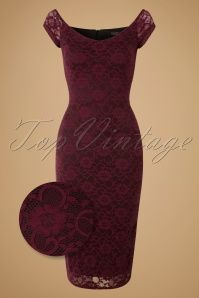 Vintage Chic 50s De Milo Pencil Dress in Wine Lace 17285 20151106 0004WV