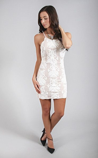 my saving grace lace dress - white