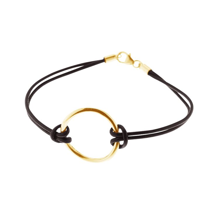 Gold plated sterling silver circle pendant for bracelet or necklace from By Malene Meden at Svane & Lührs - here with black leather straps. We tailor-make your length. Worldwide shipping € 5: www.svane-luhrs.com.