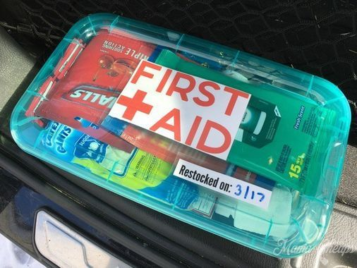 Devon from @MamaCheaps created this ultimate on-the-go first aid kit with all dollar-store products. It has everything from medicine to supplies for injuries.