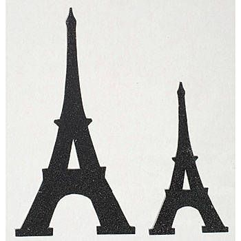The Black Glitter Eiffel Tower Cutouts feature glitter covered black cardstock. The black Eiffel Tower cutouts come in two great sizes; you will receive six 8 towers and six 12 towers.