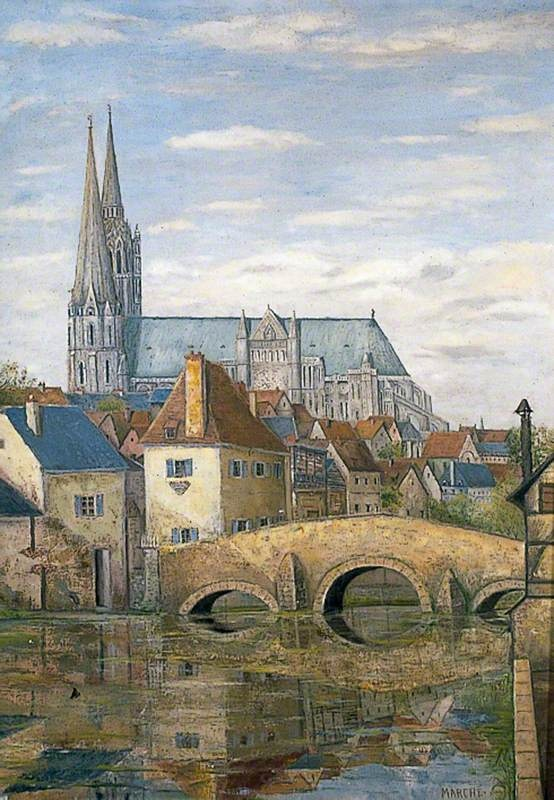 Chartres Cathedral France with a Bridge over the River Eure by Marche  Art  Pinterest