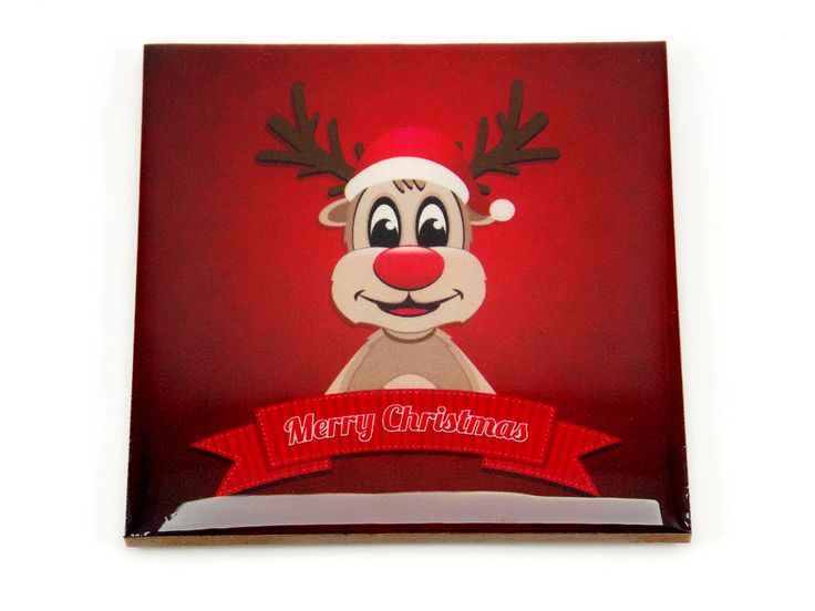 Merry Christmas Reindeer Red Color Drink Coaster Unique Gift MDF Wood by Osarix