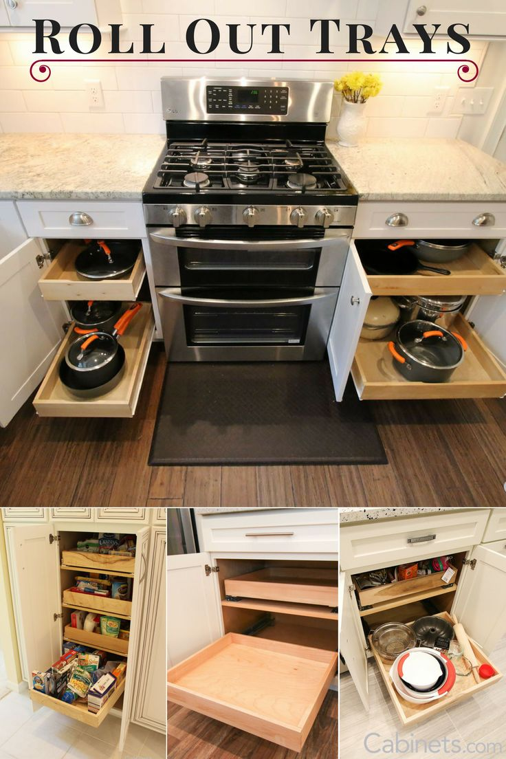 One of our most popular cabinet upgrades is to add a Roll Out Tray. With a Roll Out Tray, accessing everything in your lower (base) cabinets is much easier; no more getting on your hands & knees to look for your saucepan!