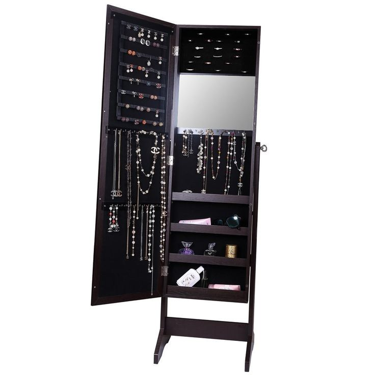 $100 Ikee Design Jewelry and Accessory Wood Armoire with Mirror   Overstock.com