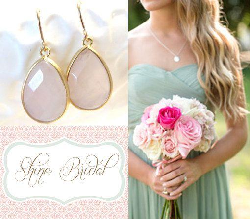 Blush Pink Bridesmaid Earrings Pastel Pink Wedding Pink Earrings Rose Quartz Gold Earrings Pink Bridal Jewelry Dusty Shale Dress