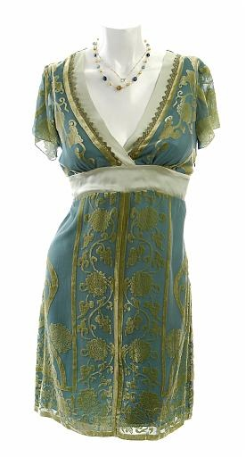 Aqua color dress.  Designer: Halé Bob