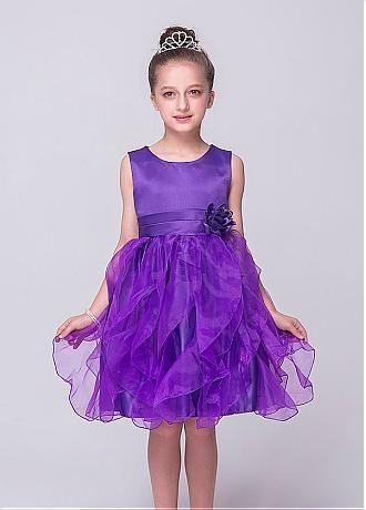 afb75f93c Glamorous Satin   Organza Scoop Neckline Ball Gown Flower Girl ...
