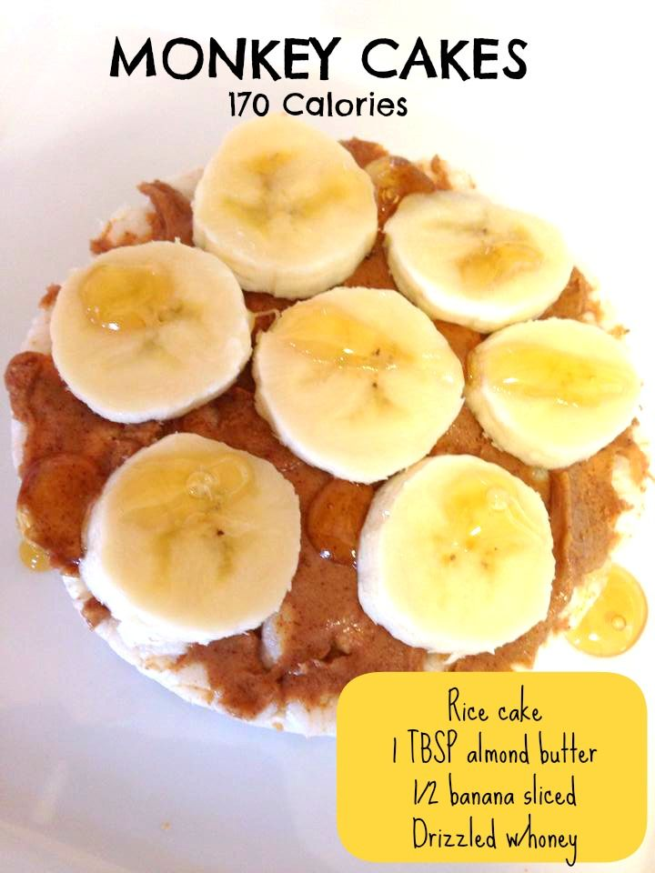 @Sommer Tucker ~ Real FIT ~  A quick healthy snack ~ Monkey Cakes ~ Kids + Adults will love it! 1. Rice Cake 2. Almond Butter 3. Banana 4. Honey #healthy #snack #peanutbutter