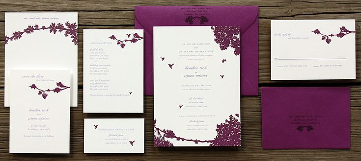 To show you the use of Purple for the Invitation Suite  This drawing style: graphic / silhouette