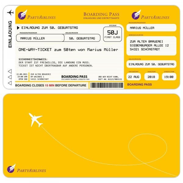 Einladungskarten Zum Geburtstag Als Flugticket U2013 Gelb    Kartenparadies Koeln.de   Individuelle Einladungskarten Für Hochzeiten,  Geburtstage Und Viele ...