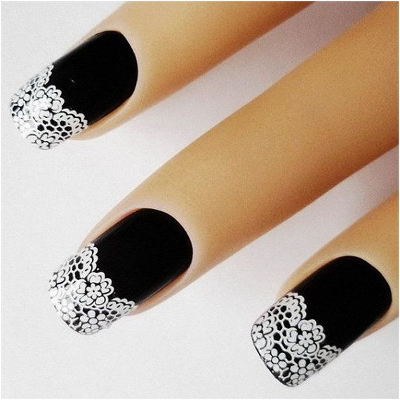 3D Nail Art French White Lace Flowers Stickers by Lotsaluxe, $3.00