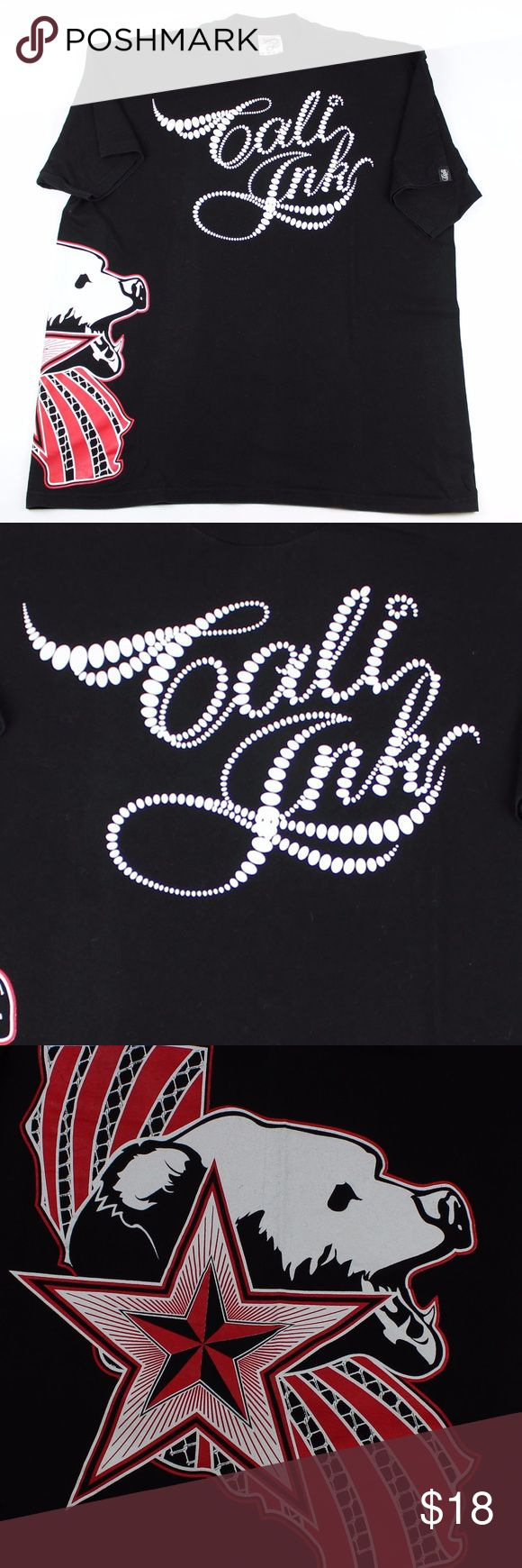"""Cali Ink Black Graphic T-shirt Black Cali Ink Men's Black T-shirt  T-shirt is black and with the words """"Cali Ink"""" in White Ink.  Shirt also has the graphic California Star and State Bear and the left sleeve has the Cali Ink logo tag on it. Shirt is excellent condition, no cracking or fading on the graphics. Size 3XL - 100% Cotton Measurements: 26"""" - pit to pit 33"""" - shoulder to hem Cali Ink Shirts Tees - Short Sleeve"""