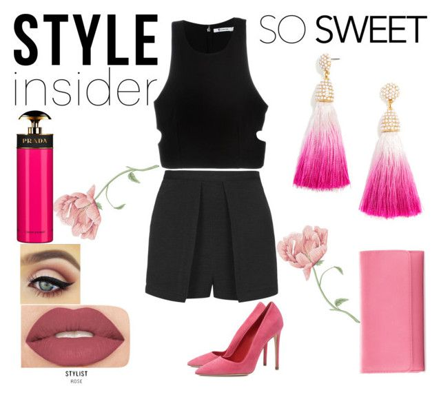 """""""HOT DATE !"""" by ymayler ❤ liked on Polyvore featuring Topshop, Prada, Dee Keller, T By Alexander Wang, Smashbox, Croft & Barrow, BaubleBar, Pink, sweet and date"""