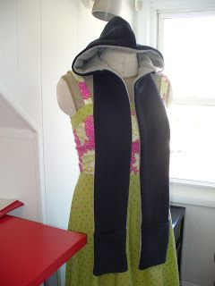 How to make a Scoodie - tute for a reversible fleece hoodie scarf with hand warmers.