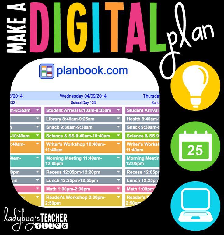 Lesson plans gone digital using planbook.com-looks worth trying.  Love all of the color coding that can happen with planbook!
