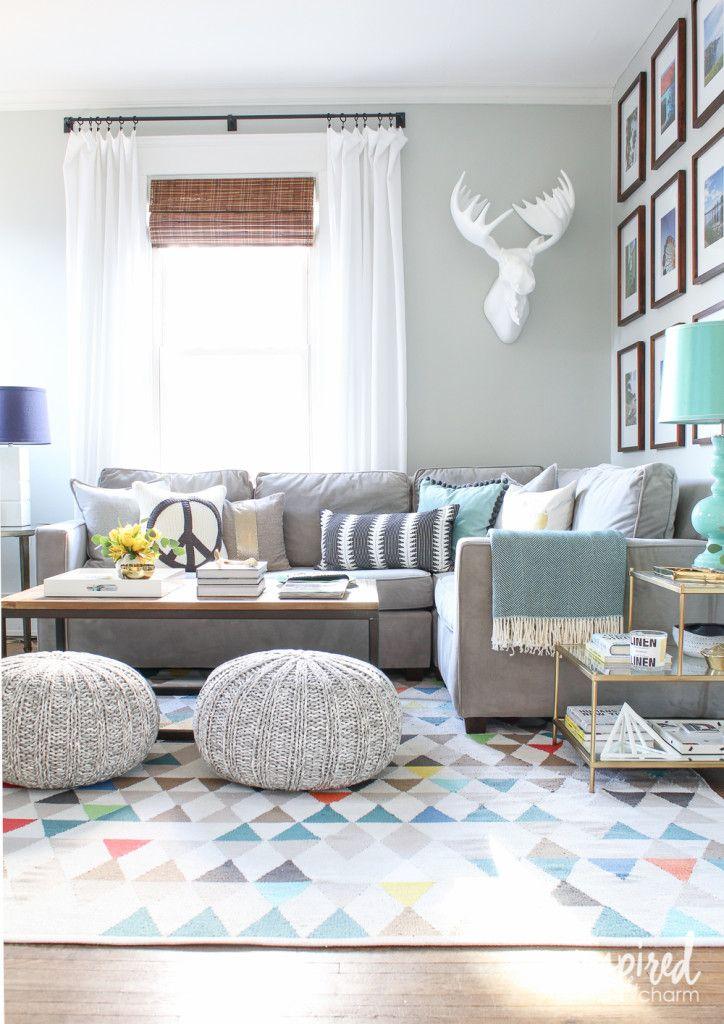 242 best Espacios images on Pinterest Room, Bathroom ideas and Home - grey sofa living room ideas
